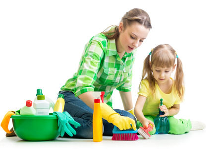 female kid: mother and kid cleaning room
