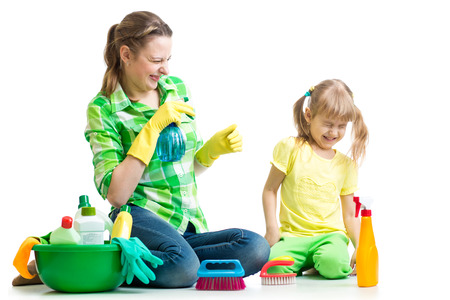 mother with kid clean room having fun photo