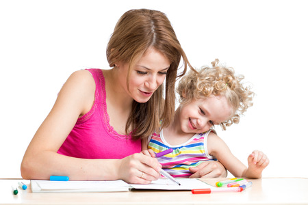 parental: Mother with child draw and paint Stock Photo