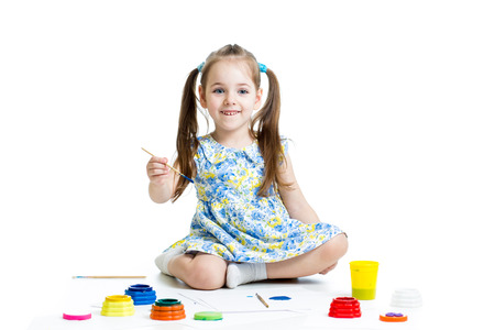 happy child girl with paints Stock Photo - 25897527