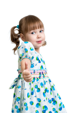 little finger: child girl showing thumbs up
