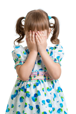 fear face: scared or crying or playing bo-peep kid hiding face