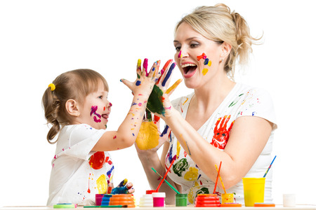 Mother with child paint and have fun pastime photo