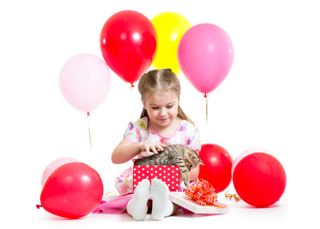 ballons: happy kid with kitten in gift box