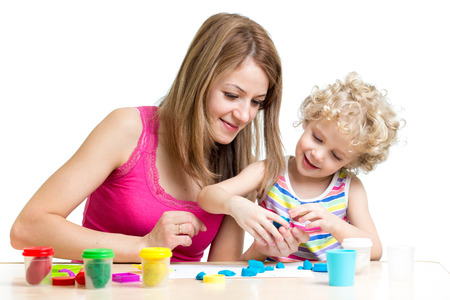 little dough: kid and mother play colorful clay toy
