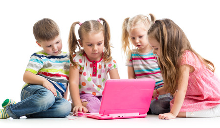 group of children friends at the laptop Stock Photo - 26270005
