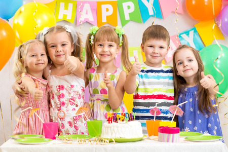 kids preschoolers celebrating birthday party photo
