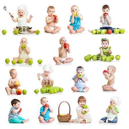 set of babies and kids eating apples, isolated on white Stock Photo