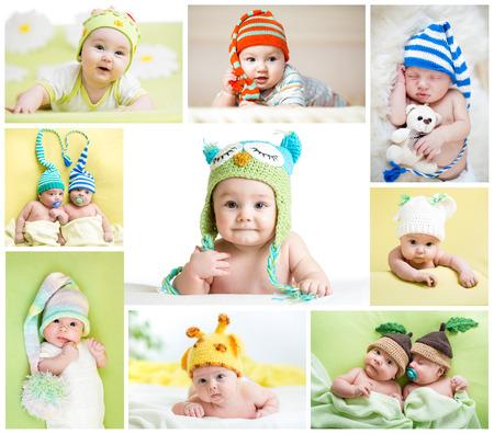 gemelos niÑo y niÑa: conjunto de los bebés o niños divertidos weared en sombreros Foto de archivo