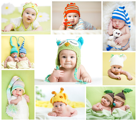 sleep baby: set of funny babies or children weared in hats