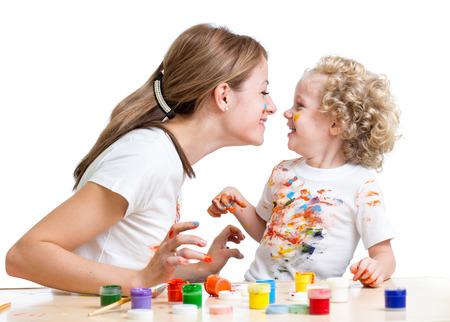一緒に絵母と子の笑顔の女の子