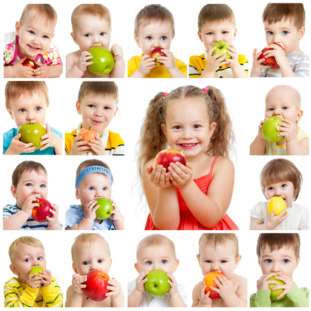 collection of babies and kids eating apples, isolated on white photo