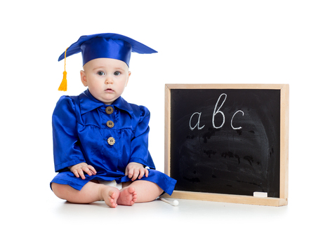 Baby in academician clothes  with chalkboard photo