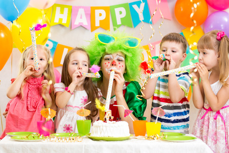 kids celebrate birthday party Stock Photo - 26747913