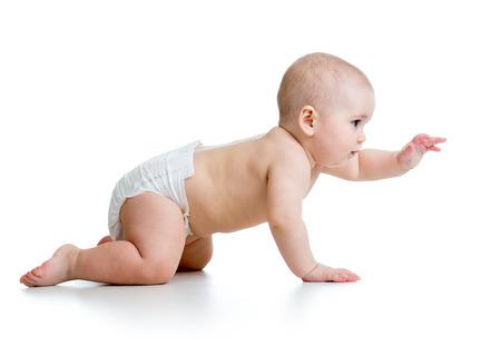 diaper baby: pretty crawling baby girl.