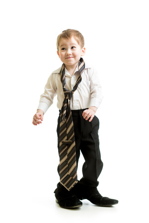 kid boy weared father shoes Stock Photo