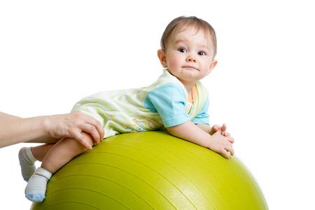 Bebé en bola de la aptitud Foto de archivo - 27298798