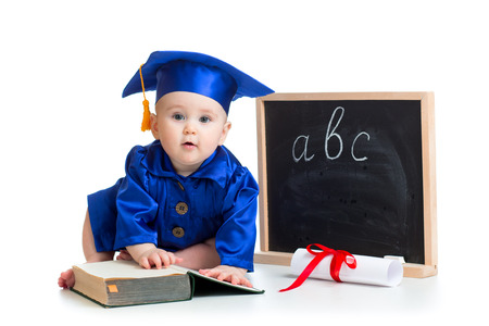 Baby in academician clothes  with pointer and chalkboard photo