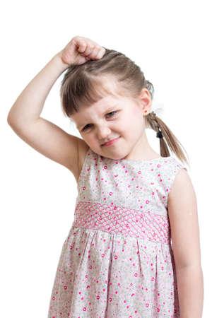 kid girl having bad mood isolated on white  photo