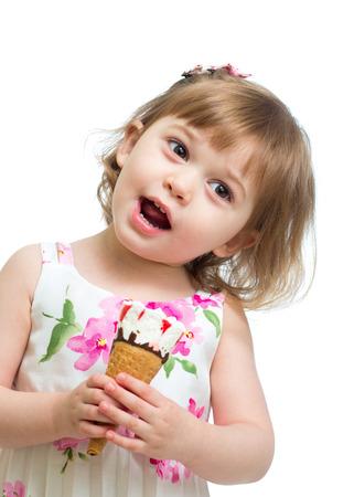 smiling kid girl eating icecream photo