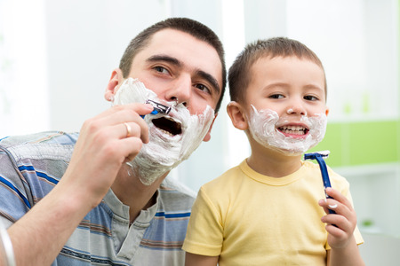 attempting: preschooler attempting to shave like his dad