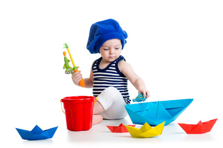 sailor hat: Cute kid playing fishing