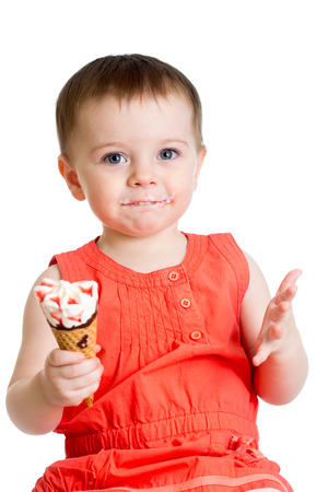 kid girl with ice cream isolated photo