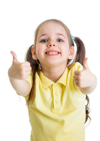 endorsing: happy child girl with hands thumbs up Stock Photo