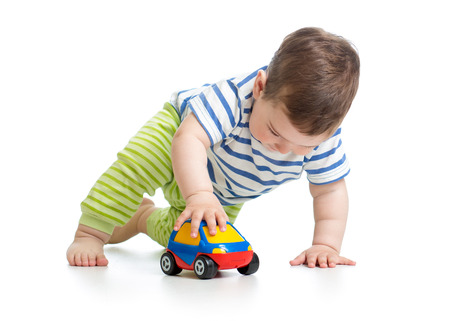 crawling baby: kid boy toddler playing with toy car