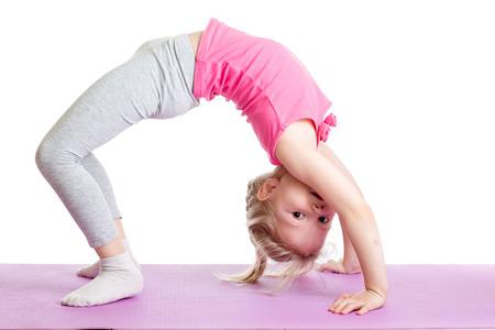 ���little one���: child girl doing gymnastics