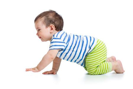 crawling baby: funny crawling baby boy isolated on white background
