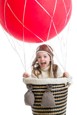 child playing on hot air balloon photo