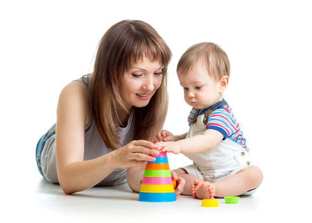 tower block: baby boy and mother play together
