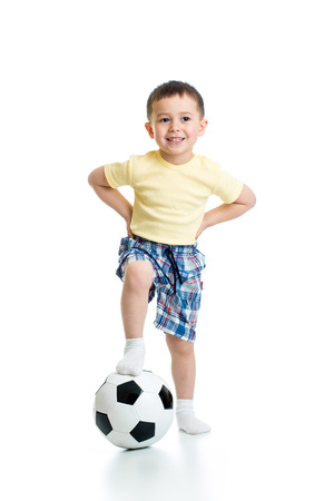 boy ball: adorable kid with football  over white background