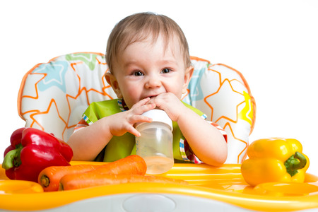 happy baby drinking from bottle Stok Fotoğraf