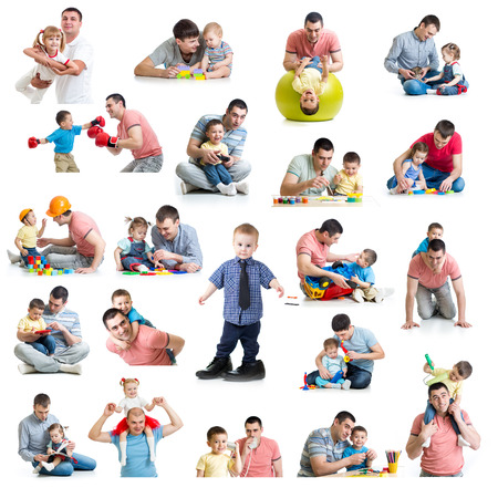 Babies and kids collage with dads  Paternity and fatherhood concept  Isolated on white  photo