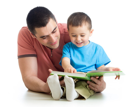 reading: man reading a book to son