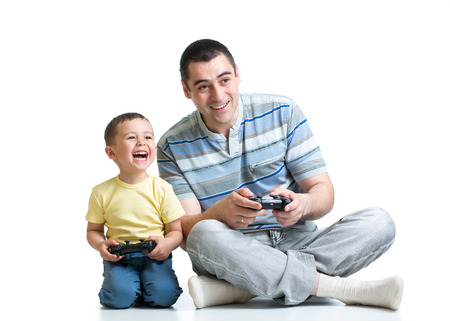 tv station: kid boy and his dad playing with a video game together