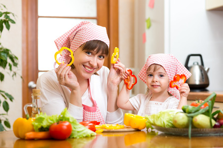 woman and daughter cooking and having fun photo
