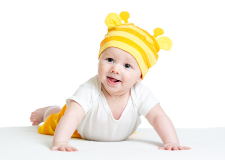 infant baby boy weared girraffe hat photo