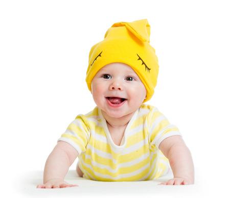 Bebé divertido que miente en el estómago Foto de archivo - 29119564