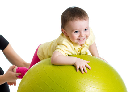large ball: baby on fitness ball