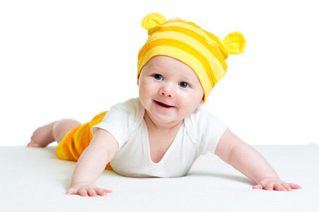 baby in funny hat isolated on white background photo