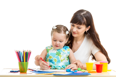 mother and her child girl pencil together photo