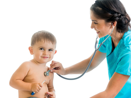 stethoscope boy: doctor examining child boy isolated on white Stock Photo