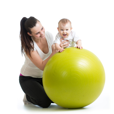 gymnastics for baby  with fitness ball Stock Photo