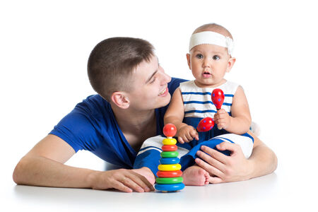 happy baby and dad play together photo