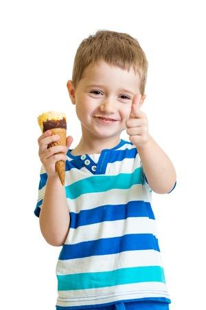 icecream: kid eating ice-cream and showing okay sign