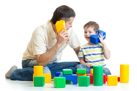 dad and kid boy role-playing together isolated photo