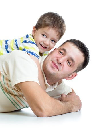 kid boy embracing dad father isolated on white photo